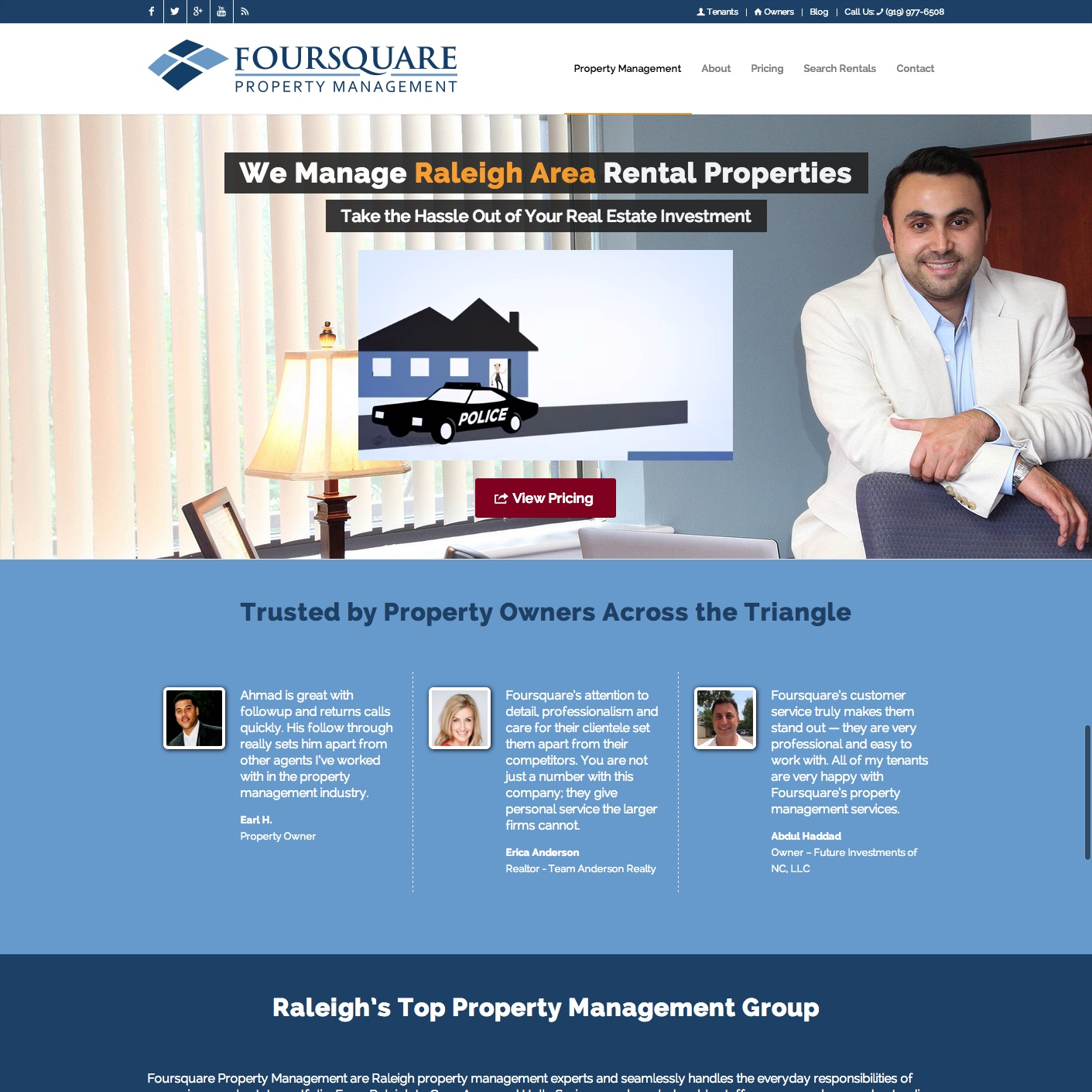 Raleigh NC Property Management Website Design