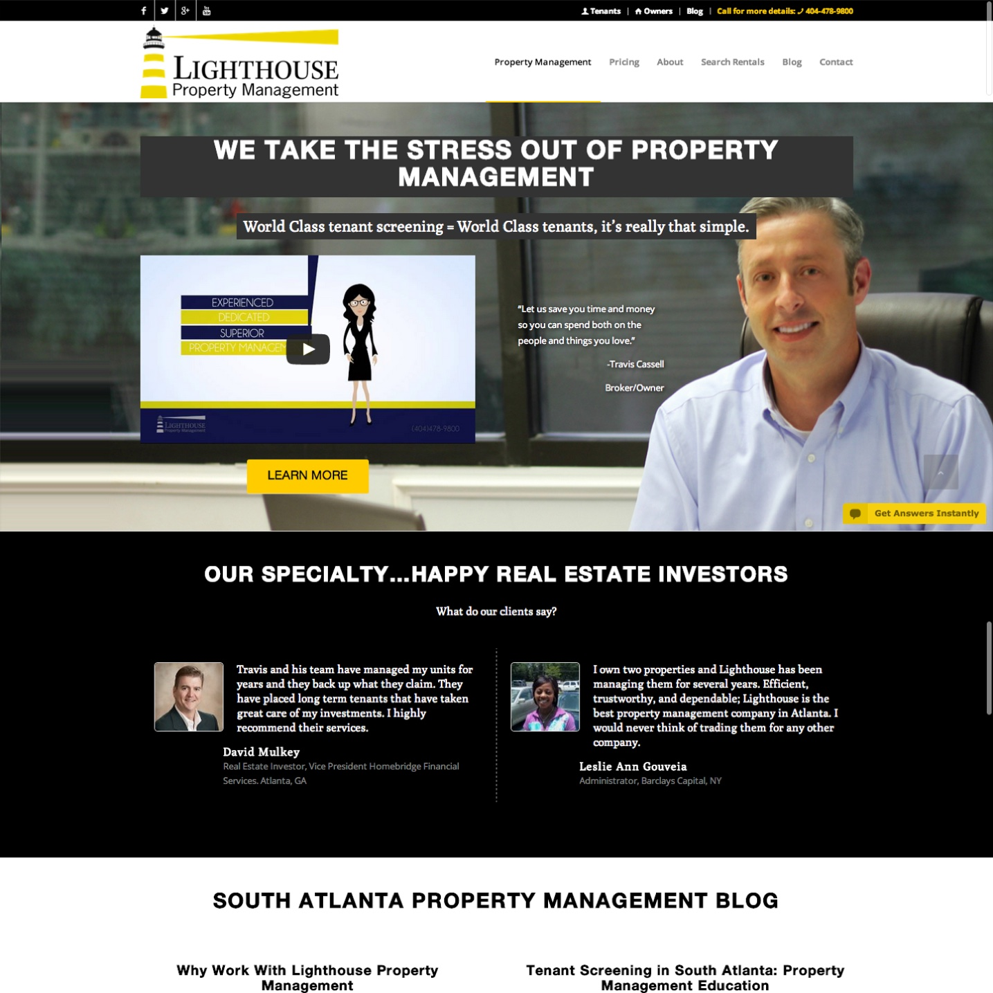South Atlanta Property Management Website Design