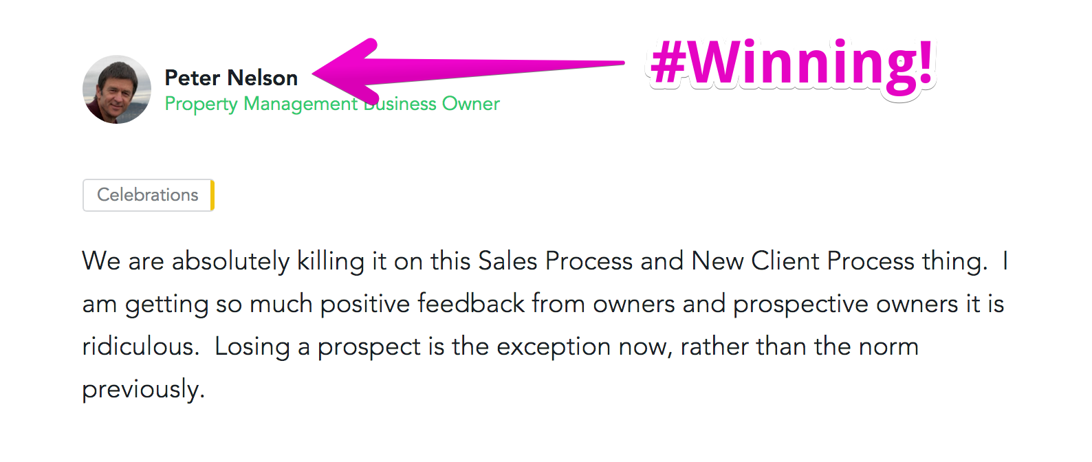We are absolutely killing it on this Sales Process and New Client Process thing.  I am getting so much positive feedback from o… 2017-06-15 17-57-35